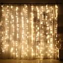 رخيصةأون أضواء شريط LED-3x1M أضواء سلسلة 120 المصابيح أبيض دافئ ديكور 220-240 V 1SET