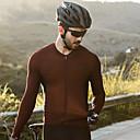 baratos Camisas Para Ciclismo-SANTIC Homens Manga Longa Camisa para Ciclismo - Café Sólido Moto Camisa / Roupas Para Esporte Blusas Elastano Terylene / Com Stretch / Modelagem Race Fit ideal para corrida / Axilas Respiráveis