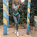 cheap Fitness, Running & Yoga Clothing-Women's Open Back Romper Workout Jumpsuit Blue Sports Solid Color High Rise Bodysuit Zumba Yoga Fitness Sleeveless Activewear Butt Lift Stretchy Slim / Winter