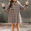 cheap Girls' Dresses-Kids Girls' Basic Plaid Long Sleeve Cotton / Polyester Jacket & Coat Red 7-8 Years(140cm)