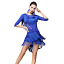 cheap Ballroom Dance Wear-Latin Dance Outfits Women's Performance Milk Fiber Pattern / Print / Tassel / Split Joint Half Sleeve Dropped Skirts / Top / Shorts