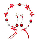 povoljno Modne ogrlice-Žene Crvena Čelo Nakit Naušnice Set Vintage Style Gypsophila Etnikai Imitacija bisera Naušnice Jewelry Crvena Za Vjenčanje Party 1set