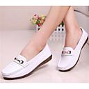 זול מוקסינים לנשים-בגדי ריקוד נשים עור סתיו נעליים ללא שרוכים שטוח לבן / שחור / אדום / יומי