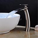 baratos Torneiras de Banheiro-Torneira pia do banheiro - Cascata Níquel Escovado Conjunto Central Monocomando e Uma Abertura