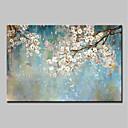 זול ציורים מופשטים-ציור שמן צבוע-Hang מצויר ביד - מופשט / פרחוני / בוטני מודרני כלול מסגרת פנימית / בד מתוח