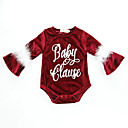 cheap Baby Girls' One-Piece-Baby Girls' Vintage / Active School / Holiday Print Print Long Sleeve Spandex Bodysuit Wine / Toddler