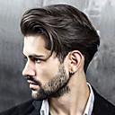 Недорогие Солнечные LED панели-Муж. Натуральные волосы Накладки для мужчин Прямой 100% ручная работа Мягкость