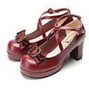 رخيصةأون ملابس ألعاب الفيديو-لوليتا حلو أميرة لوليتا منصة أحذية لون الصلبة 7.5 cm CM أسود / بني / أحمر من أجل نسائي PU كوستيوم هالوين
