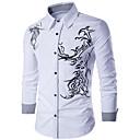 hesapli Erkek Gömlekleri-Erkek Pamuklu İnce - Gömlek Geometrik Actif / Temel Siyah / Uzun Kollu