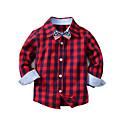 billige Topper til gutter-Barn Gutt Grunnleggende Ensfarget Langermet Bomull Skjorte Blå 100