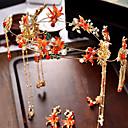 povoljno Modne ogrlice-Žene Crvena Kosa Palice Vintage Style Gypsophila Etnikai Naušnice Jewelry Crvena Za Vjenčanje Party 1set