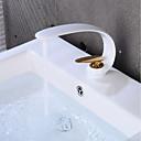 זול ברזים לחדר האמבטיה-חדר רחצה כיור ברז - יצירתי מוזהב / גימור צבוע סט מרכזי חור ידית אחת אחתBath Taps