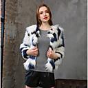 ieftine Aplice de Perete-Pentru femei Zilnic Șic Stradă Mărime Plus Size Scurt Palton, Dungi Rotund Manșon Lung Poliester Alb 4XL / XXXXXL / XXXXXXL
