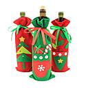 رخيصةأون اكسسوارات النبيذ-عيد الميلاد عيد الميلاد سانتا شجرة الدعوى زي زجاجة النبيذ التفاف 1PCS غطاء الحقيبة حقيبة