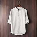 זול חפצים דקורטיביים-אחיד צווארון עגול סגנון סיני חולצה - בגדי ריקוד גברים בז'