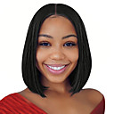 cheap Synthetic Capless Wigs-Synthetic Wig / Synthetic Lace Front Wig Straight Kardashian Style Middle Part Lace Front Wig Black Natural Black Dark Brown Synthetic Hair 14 inch Women's Soft / Best Quality / Middle Part Bob Black