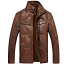 cheap Slipcovers-Men's Daily Basic Regular Leather Jacket, Solid Colored Turtleneck Long Sleeve PU Brown / Khaki XL / XXL / XXXL