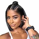 povoljno Perike s ljudskom kosom-Remy kosa Ljudska kosa 13x6 Zatvaranje Lace Front Perika Bob frizura Kratak Bob stil Brazilska kosa Silky Straight Natural Crna Perika 150% Gustoća kose s dječjom kosom Prirodna linija za kosu