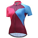 cheap Cycling Underwear & Base Layer-TELEYI Women's Short Sleeve Cycling Jersey Blue+Pink Plaid / Checkered Plus Size Bike Jersey Top Breathable Moisture Wicking Quick Dry Sports Polyester Mountain Bike MTB Road Bike Cycling Clothing