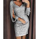 cheap Party Dresses-Women's Christmas / Cocktail Party Basic Slim Bodycon Dress Sequins / Tassel V Neck Black Silver Yellow L XL XXL