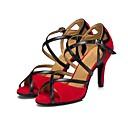 povoljno Cipele za latino plesove-Žene Cipele za latino plesove Brušena koža Sandale Kubanska potpetica Moguće personalizirati Plesne cipele Crn / Crvena