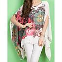 baratos Blocos de Montar-Mulheres Blusa Moda de Rua Manga Morcego Estampado, Floral Oversized / Primavera / Verão