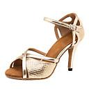 povoljno Cipele za latino plesove-Žene Cipele za latino plesove PU Sandale / Tenisice Isprepleteni dijelovi Tanka visoka peta Moguće personalizirati Plesne cipele Zlato