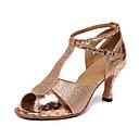 abordables Zapatos de Baile Latino-Mujer Sintéticos Zapatos de Baile Latino Tacones Alto Tacón Cubano Personalizables Dorado / Entrenamiento / Rendimiento / Cuero