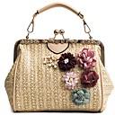 hesapli Kadın Topukluları-Kadın's Çiçekli Hasır Üstten Saplı Çanta Hasır Çanta Siyah / Bej / Haki