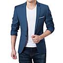 cheap Working Laptop-Men's Daily / Work Spring / Fall Plus Size Regular Blazer, Solid Colored V Neck Long Sleeve Acrylic / Polyester Dark Blue / Gray / Wine 4XL / XXXXXL / XXXXXXL / Business Formal / Slim