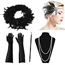 cheap Historical & Vintage Costumes-The Great Gatsby 1920s The Great Gatsby Costume Women's Flapper Headband Head Jewelry Pearl Necklace Green and Black / Black & White / Golden+Black Vintage Cosplay
