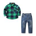 tanie Zestawy ubrań dla chłopców-Dzieci / Brzdąc Dla chłopców Aktywny / Podstawowy Codzienny / Święto Kratka Długi rękaw Regularny Bawełna / Spandeks Komplet odzieży Zielony