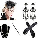 cheap Historical & Vintage Costumes-The Great Gatsby 1920s The Great Gatsby Roaring 20s Costume Women's Gloves Flapper Headband Head Jewelry Earrings Pearl Necklace Blue / Golden / Burgundy Vintage Cosplay Party Prom