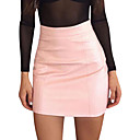 cheap Synthetic Capless Wigs-women's going out faux leather mini bodycon skirts - solid colored high waist