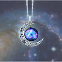 ราคาถูก สร้อยคอ-สำหรับผู้หญิง หลายสี Cubic Zirconia ละอองดาว สร้อยคอจี้ MOON กาแล็คซี่ Stylish ศิลปะ ดีไซน์เฉพาะตัว น่ารัก Pink-Blue ดำ / ขาว เขียวเข้ม 45 cm สร้อยคอ เครื่องประดับ 1pc สำหรับ ทุกวัน เทศกาล
