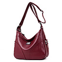 お買い得  クロスボディ・バッグ-女性用 バッグ PU ショルダーバッグ ジッパー 純色 ブルー / ブラック / ルビーレッド