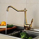 cheap Bathroom Sink Faucets-Bathroom Sink Faucet - Widespread Gold Centerset Single Handle One HoleBath Taps