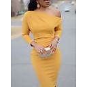 cheap Temporary Paints-Women's Daily Basic Slim Bodycon Dress One Shoulder Black Yellow Wine M L XL