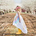 baratos Vestidos para Meninas-Infantil Para Meninas Activo Sólido Sem Manga Vestido Branco
