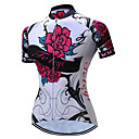 cheap Cycling Pants, Shorts, Tights-TELEYI Women's Short Sleeve Cycling Jersey - Red and White Floral / Botanical Bike Jersey Breathable Quick Dry Sports Polyester Mountain Bike MTB Road Bike Cycling Clothing Apparel / Stretchy