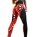 cheap Wedding Garters-Women's See Through Yoga Pants - Red black Sports Print Spandex, Mesh High Rise Tights / Leggings Dance, Running, Fitness Activewear Breathable, Push Up Stretchy