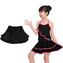 billige Dansetøj til børn-Latin Dans Underdele Pige Træning / Ydeevne Elastin / Lycra Skærfer / Bånd / Lag Naturlig Skjørter