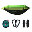 cheap Camping Furniture-Camping Hammock with Pop Up Mosquito Net Outdoor Portable Lightweight Sunscreen Parachute Nylon with Carabiners and Tree Straps for 2 person Hunting Fishing Camping Orange Dark Green Army Green