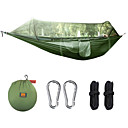 cheap Camping Furniture-Camping Hammock with Mosquito Net Outdoor Lightweight Steel Alloy Terylene with Carabiners and Tree Straps for 1 person Fishing Hiking Climbing Green Black 290*145 cm