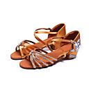 זול נעליים לטיניות-בגדי ריקוד נשים נעלי ריקוד סטן נעליים לטיניות פאייטים / אבזם / פרטים מקריסטל עקבים עקב עבה מותאם אישית חום / הצגה / עור