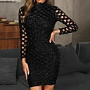cheap Gaming Laptop-Women's Party / Daily / WorkWear Elegant Slim Sheath Dress - Solid Colored Lace / Sequins Crew Neck Black M L XL / Sexy