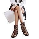hesapli Kadın Botları-Kadın's Ayakkabı Süet Sonbahar Kış Klasik / Günlük Çizmeler Blok Topuk Yuvarlak Uçlu Yarı-Diz Boyu Çizmeler Günlük / Dış mekan için Toka Kahverengi / Leopar / Kırmızı Şarap