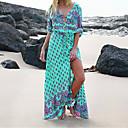 cheap Men's Boots-Women's Daily Elegant Maxi Sheath Dress Print V Neck Blue Green Blushing Pink XXXL XXXXL XXXXXL / Sexy