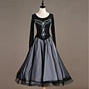 preiswerte Tanzkleidung für Balltänze-Für den Ballsaal Kleider Damen Leistung Elasthan Kombination / Kristalle / Strass Langarm Kleid