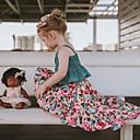 levne Blokovací bloky-Děti / Toddler Dívčí Aktivní / Cikánský Denní Květinový Patchwork Bez rukávů Krátké Bavlna / Polyester Sady oblečení Trávová zelená